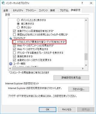 Internet Explorer 11 の「HTML5 メディア要素の代替コーデックを有効にする」のレジストリをコマンドで設定する方法【共通編】