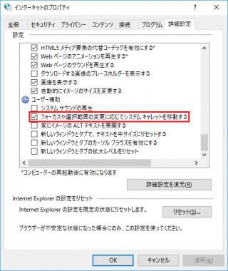 Internet Explorer 11 の「フォーカスや選択範囲の変更に応じてシステム キャレットを移動する」のレジストリをコマンドで設定する方法【共通編】